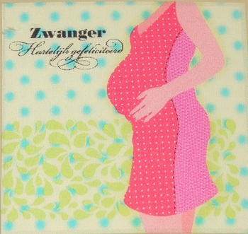 Felicitatiekaart Zwanger roze jurk 3D