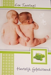 Felicitatiekaart geboorte tweeling